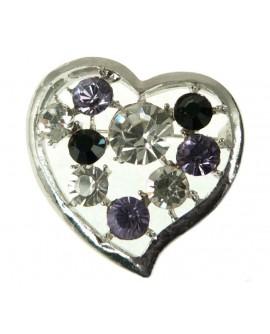 Broche coeur classique argentée gros strass cristal blanc violet noir