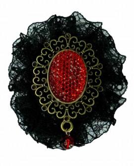 Broche dentelle noire strass rouge bronze gothique baroque