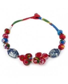 Jeu de boutons en coton multicolore et Porcelaine (Collier)