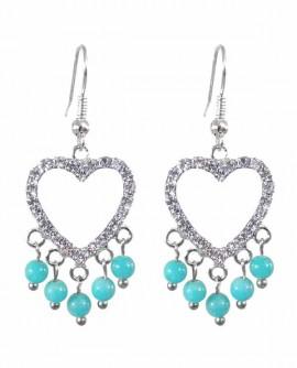 Boucles d'oreilles coeur en cristal