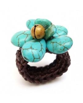 Bague fleur bleu au grelot