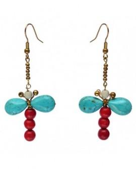 Papillon bleu et rouge (Boucles d'oreilles)