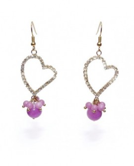 Coeur serti de cristal et perles violettes (Boucles d'oreilles)