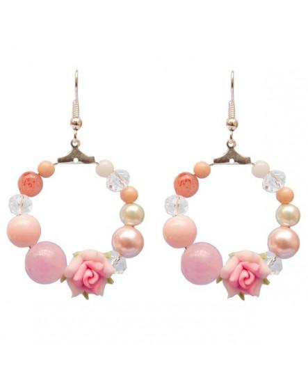 Rose et perles (Boucles d'oreilles)