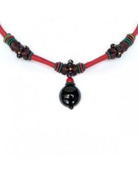 Perles et satin – Rouge et Noir (Collier)