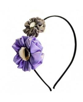 Froufrous de satin Violet Lilas et Gris Taupe ( Serre-Tête )
