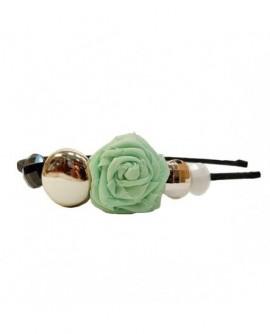 Rose en tissu Vert, Ronds Argenté, Noir et Blanc ( Serre-Tête )