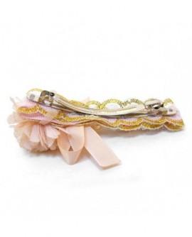 Fleur Rose Saumon et perles multicolores ( Barrette  )