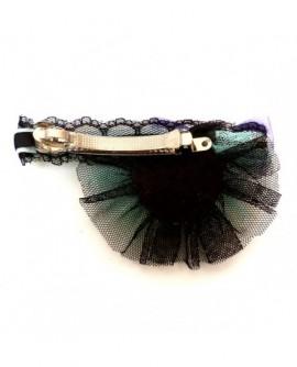 Tulle Bleu et Noir au noeud papillon Violet ( Barrette )
