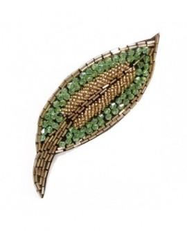 Feuille vert doré (Broche)