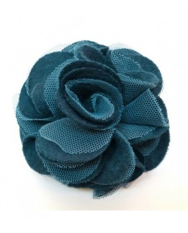 Fleur Feutrine Et Tulle Bleu (2 fonctions : Broche et Pince à cheveux)