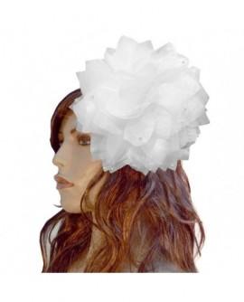Grand bibi blanc (2 fonctions : Broche et Pince à cheveux)
