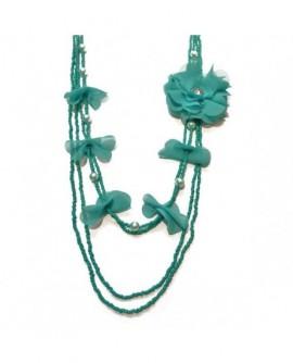 Fleur et pétales Vert Turquoise (Sautoir)