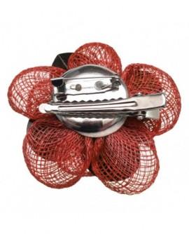 Fleur sisal Rouge et Noire (2 fonctions : Broche et Pince à cheveux)