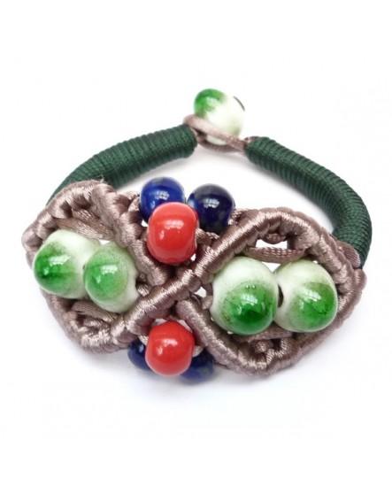 Macramé de satin et perles effet craquelé (Bracelet)