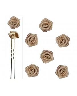 épingles à chignon fleur (rose en satin)