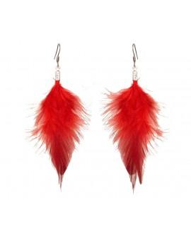 Boucles d'oreilles plume rouge