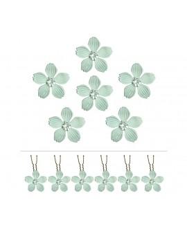 Lot de 6 épingles fleurs métal gris blanc et cristal