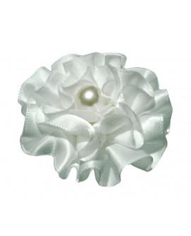 Pince crocodile coiffure de mariage fleur en froufrou de satin blanc