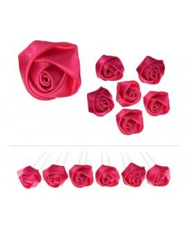 Lot de 6 épingles fleurs bouton de rose en satin rose fuchsia