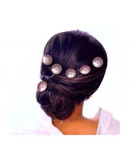 Lot de 6 épingles à cheveux rond de nacre et perle