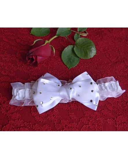 Jarretière noeud papillon Blanc et strass - mariage