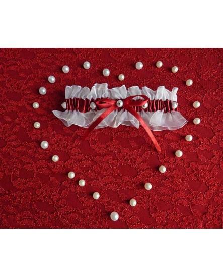 Jarretière satin et organza Rouge et Blanc - mariage