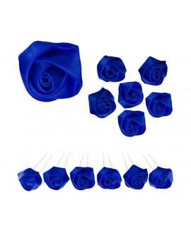 6 épingles à chignon  Roses en satin bleu pour le mariage
