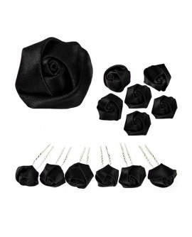 6 épingles à chignon Roses en satin noir pour un coiffure gothique ou victorienne