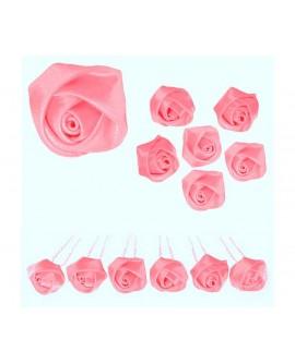 6 épingles à chignon boutons de roses en satin rose clair