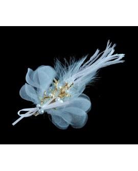 Pince à cheveux mariage organza et plumes blanches