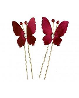 Lot de 2 épingles papillons rouge sombre