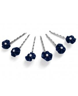 pinces plates satin perle nacre bleu