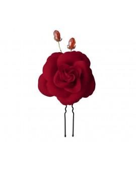 1 grande fleur de camélia de velours rouge en épingles à chignon