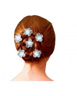 épingles a cheveux mariée fleur bi-matière satin organza