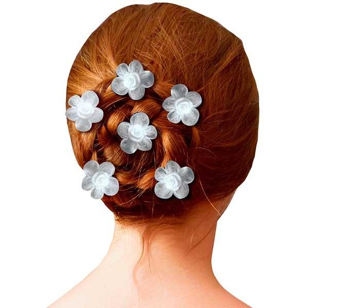 6 épingles pics à Cheveux Chignon coiffure Mariage FLEUR Rose en satin ROUGE