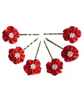 Lot de 6 épingles pinces plates fleur de satin et petites perles nacrées