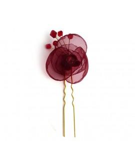 epingle a cheveux mariage fleur bordeaux