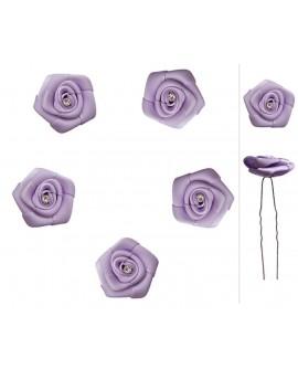 epingles de mariage fleur strass satin violet parme
