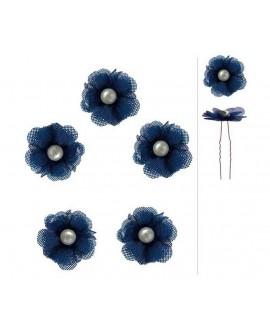 pinces plates de mariage fleur bleu marine