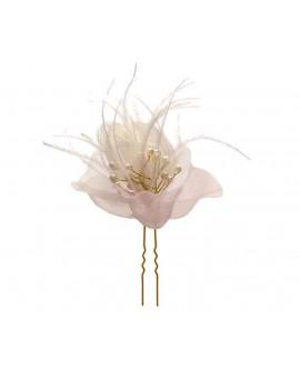 épingles à chignon de mariage fleur rose et plume blanche