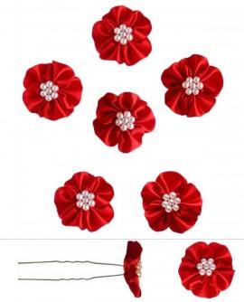 épingles cheveux mariage perles fleur de satin rouge