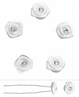 epingles de mariage fleur petites roses de satin et strass