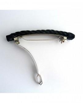 barrette clip cheveux épais tresse cuir noire