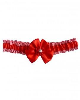 Jarretière de mariage rouge et blanche en satin et carreaux vichy - de la petite à la grande taille