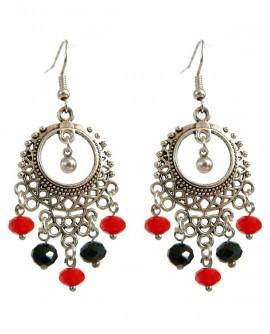 Boucles d'oreilles flamenco argentée rouge noir