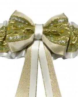 Jarretière mariage verte dorée blanche petite grande taille satin broderies
