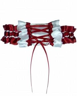 Jarretière mariage rouge bordeaux blanche laçage soubrette érotique - petite grande taille