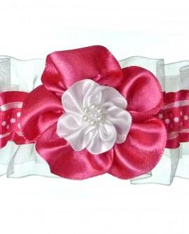 Jarretière de mariage rose fuchsia fuchia fushia blanche pois - petite ou grande taille