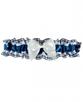 Jarretière de mariage bleu foncé et blanche en satin et carreaux vichy - de la petite à la grande taille